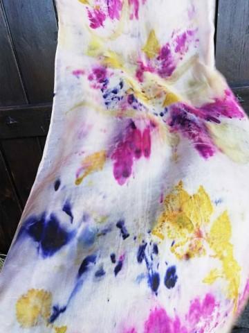 Vinotinte - Rectangular Violet Scarf - ECOPRINT 06
